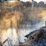 冬、大堀川も凍る