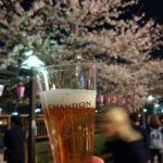 夜桜見物で目黒川のシャンドンに飲まれる